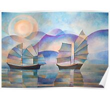 Shades of Tranquility - Cubist Junks Poster