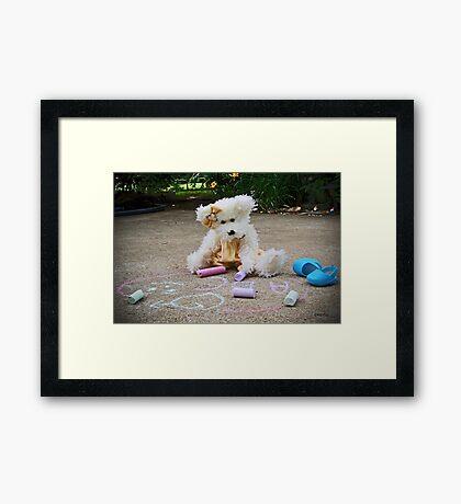 Winnie Surveys Her Chalk Drawings Framed Print