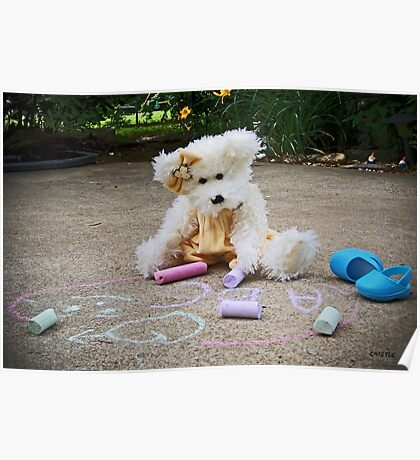 Winnie Surveys Her Chalk Drawings Poster