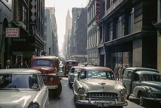Little Collins Street Traffic 1960 by Fred Mitchell