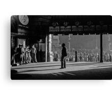 Clockwatcher Flinders Street Station B & W 1958 Canvas Print