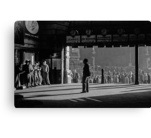 Clockwatcher Flinders Street Station B & W 1958 Canvas Print