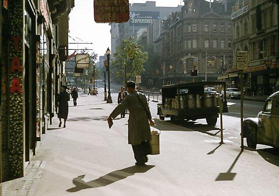 Milkman Collins Street 1958 by Fred Mitchell