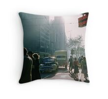 Cnr Collins Elizabeth Streets at end of shopping day 19570416 0001 Throw Pillow