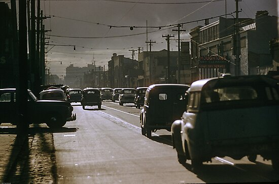 Evening Peak Victoria Street Abbotsford 19630000 0000 by Fred Mitchell