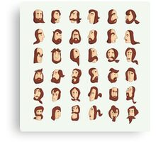 ARMENIAN BEARD ALPHABET ILLUSTRATIVE TYPOGRAPHY Canvas Print