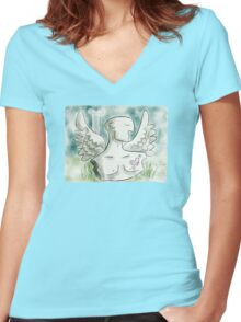 Grounded Angel - Vintage Women's Fitted V-Neck T-Shirt