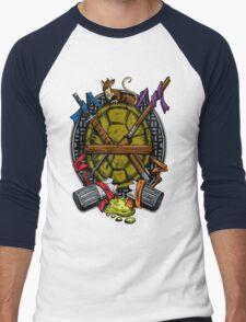 Turtle Family Crest - Full Color Men's Baseball ¾ T-Shirt