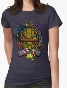 Turtle Family Crest - Full Color Womens Fitted T-Shirt