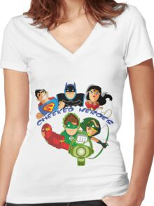 cheeked heroes Women's Fitted V-Neck T-Shirt
