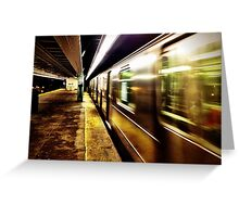 Elevated Subway at Night Greeting Card