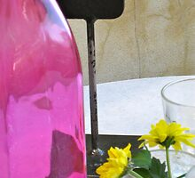 1/5 still life with outrageously pink bottle. by Evelyn Bach