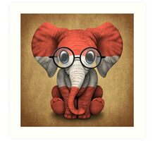 Baby Elephant with Glasses and Austrian Flag Art Print