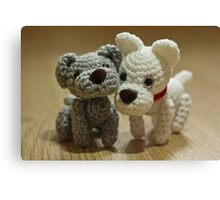 2 Little Crochet Puppy Dogs Canvas Print