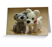 2 Little Crochet Puppy Dogs Greeting Card