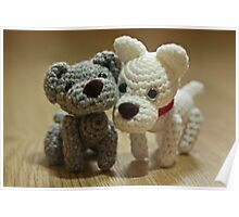 2 Little Crochet Puppy Dogs Poster