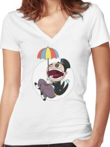 Penguin drops in Women's Fitted V-Neck T-Shirt