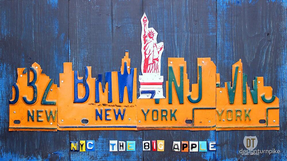 New York City Skyline License Plate Art NYC USA by designturnpike