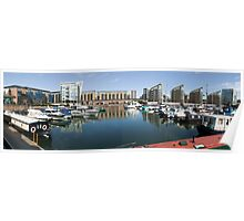 Wide-angle Panorama of Limehouse Basin Poster