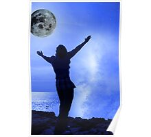 a woman with raised hands facing a wave and full moon on cliff edge Poster