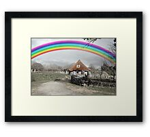 ancient rustic cottage with rainbow Framed Print