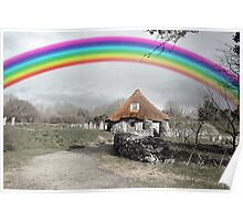ancient rustic cottage with rainbow Poster