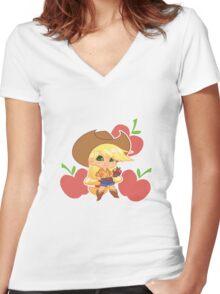 MLP Gijinka Applejack Women's Fitted V-Neck T-Shirt