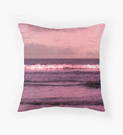 ballybunion beach purple winter storm waves Throw Pillow