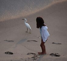 Girl And Heron - Muchacha Y Garza Blanca by Bernhard Matejka
