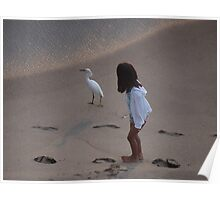 Girl And Heron - Muchacha Y Garza Blanca Poster