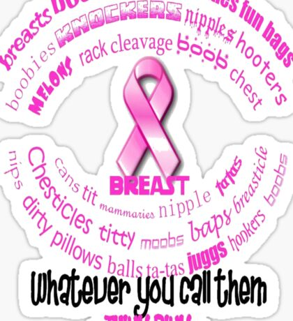 Breasts, Whatever You Call Them Think Pink Sticker