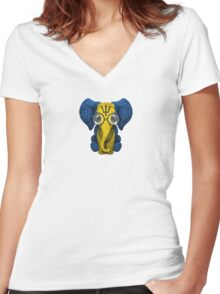 Baby Elephant with Glasses and Barbados Flag Women's Fitted V-Neck T-Shirt