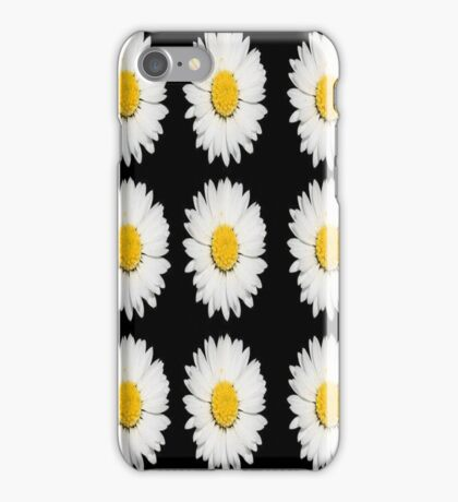 Top View of a White Daisy Isolated on Black iPhone Case/Skin