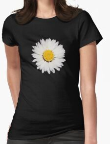 Top View of a White Daisy Isolated on Black T-Shirt
