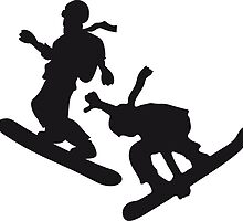 2 snowboarder team stunt jump cool silhouette by Style-O-Mat