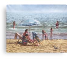 people on bournemouth beach parasol Canvas Print
