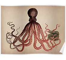Vintage Octopus on Aged Parchment Poster