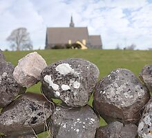 ballyvaughan stone wall and church by morrbyte