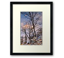 Autumn Leaves and Reflections on Wilket Creek at Sunset Framed Print