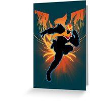 Super Smash Bros. Light Blue Captain Falcon Silhouette Greeting Card