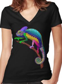 Chameleon Fantasy Rainbow Colors Women's Fitted V-Neck T-Shirt