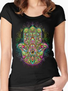 Hamsa Amulet Psychedelic Women's Fitted Scoop T-Shirt