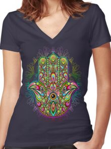 Hamsa Amulet Psychedelic Women's Fitted V-Neck T-Shirt