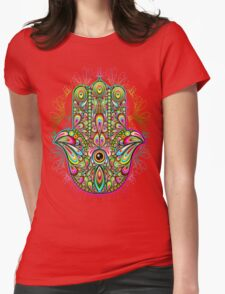 Hamsa Amulet Psychedelic Womens Fitted T-Shirt