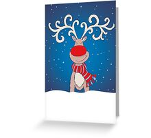 Christmas red nosed reindeer in the snow Greeting Card
