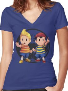 Ness and Lucas Women's Fitted V-Neck T-Shirt