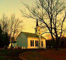 Small Waterloo Church at sunset, Waterloo Village, Stanhope NJ; Wooden Slat built 1859 by Jane Neill-Hancock