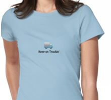 keep on truckin cute blue funny truck little boy Womens Fitted T-Shirt