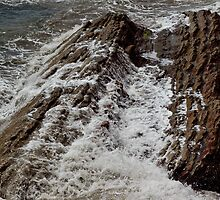 Wet rocks at the shore line by Dennis Reagan