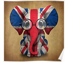 Baby Elephant with Glasses and Union Jack British Flag Poster